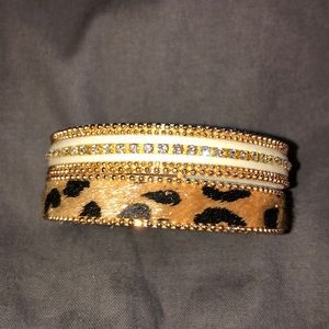 Jewelry - Mixed bracelet. Leo print with bling.